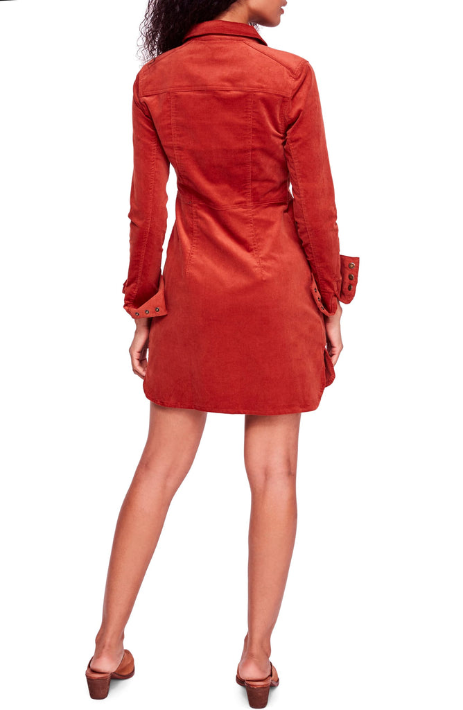 Yieldings Discount Clothing Store's Dynomite In Corduroy Mini Dress by Free People in Burnt Orange