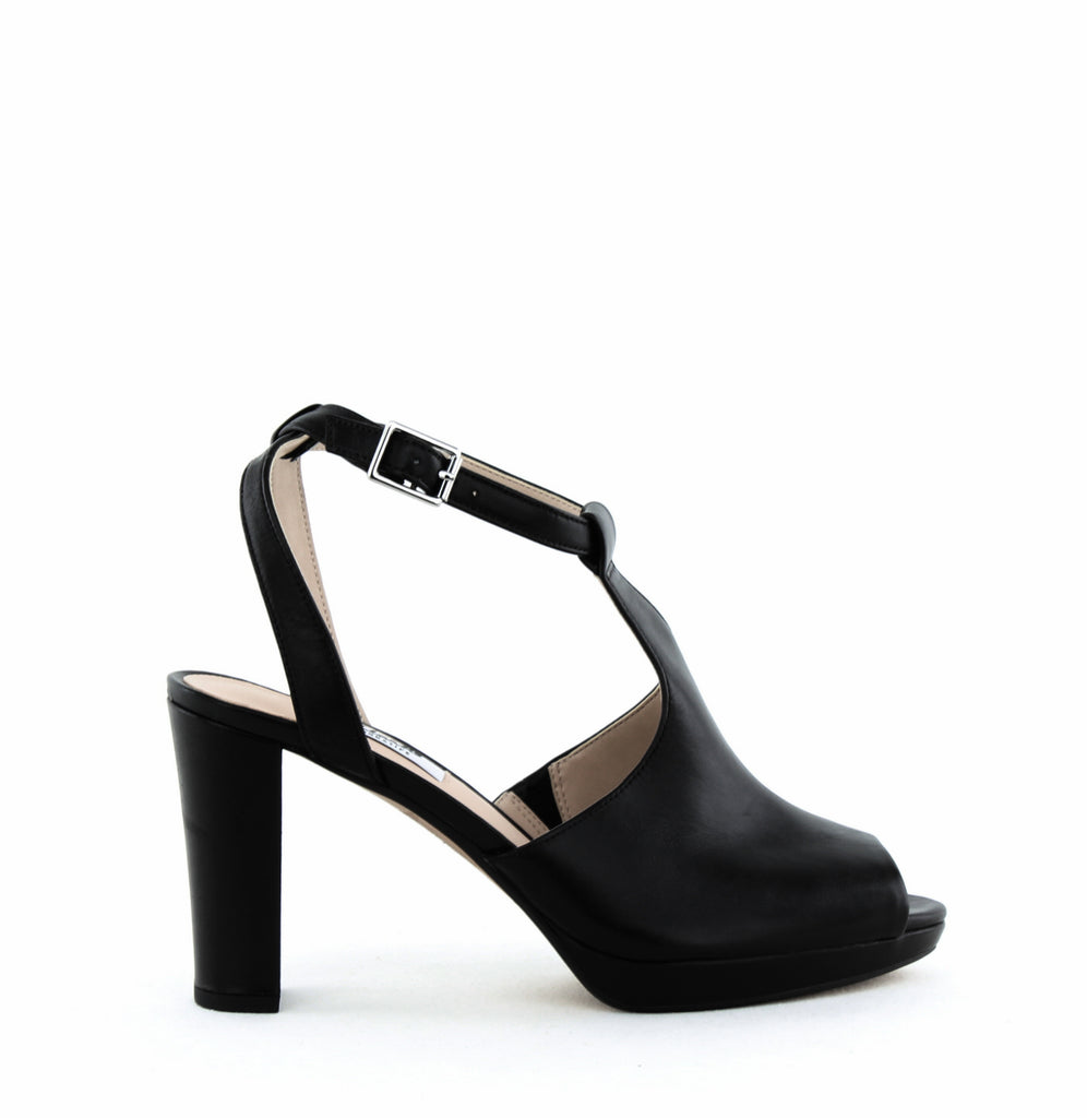 Yieldings Discount Shoes Store's Kendra Charm Block Heel Sandal by Clarks in Black
