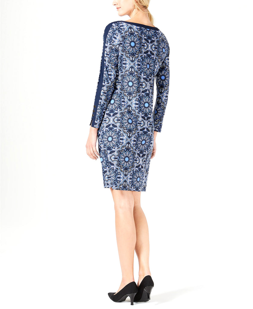Yieldings Discount Clothing Store's Printed Button-Trim Shift Dress by Charter Club in Admiral Navy Combo