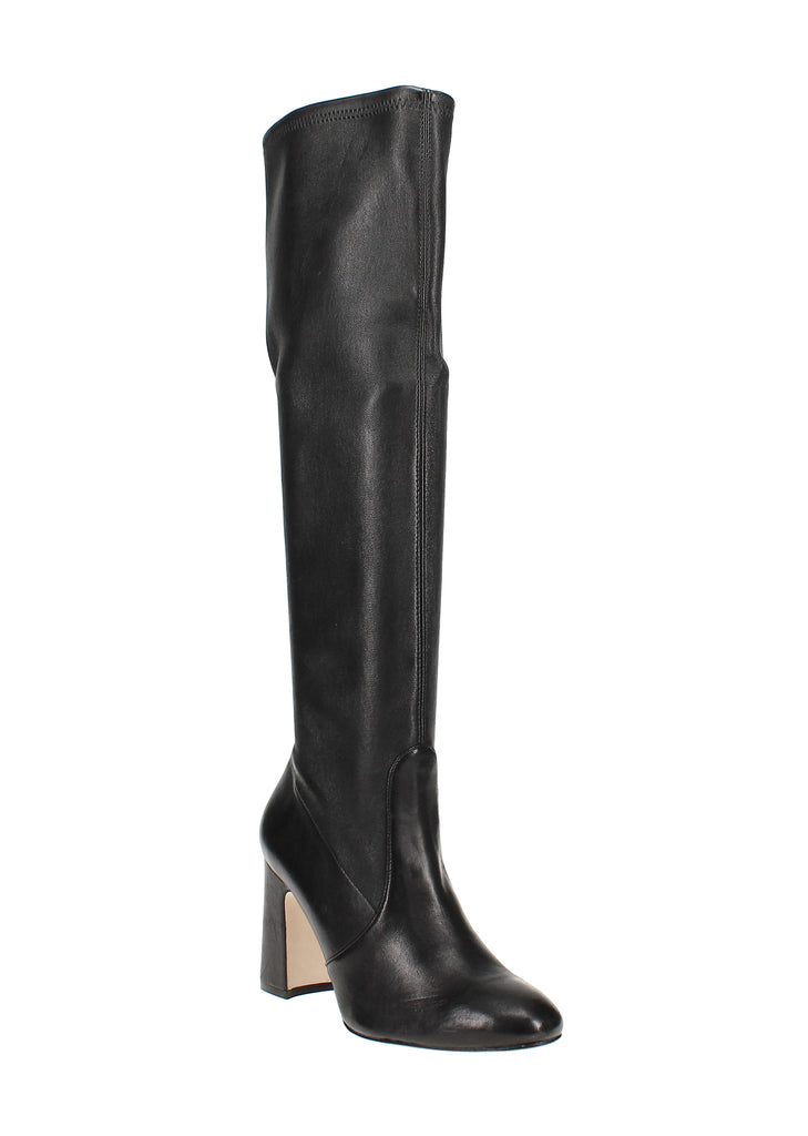 Yieldings Discount Shoes Store's Milla Stretch Block High-Heel Boots by Stuart Weitzman in Black Leather