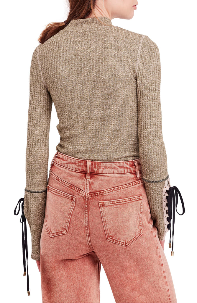 Yieldings Discount Clothing Store's Mountaineer Lace-up Sleeve Sweater by Free People in Moss