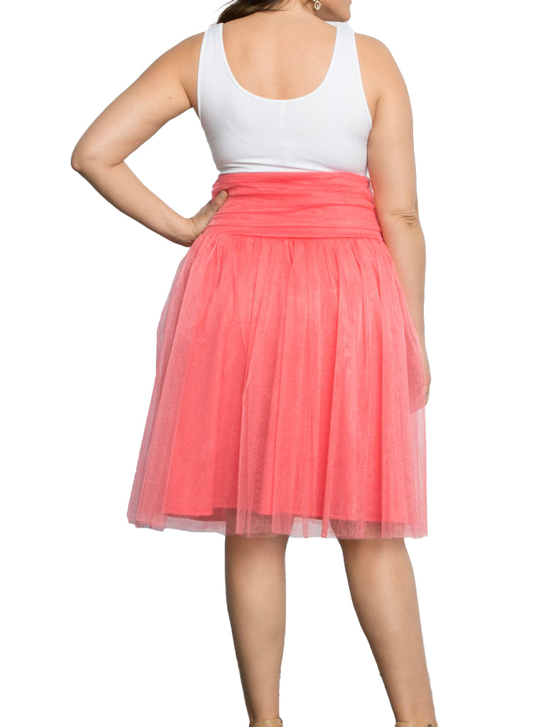 Yieldings Discount Clothing Store's Twirling in Tulle Skirt by Kiyonna in Melon