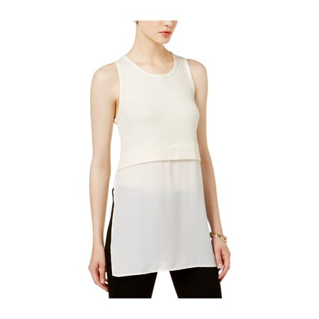 Yieldings Discount Clothing Store's Beijing Mixed Media Ribbed Top by Bar III in Cream