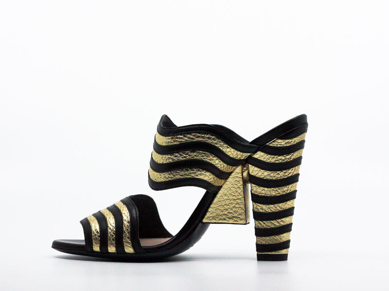 Fendi | Hypnoteyes Gold and Black Block Heels