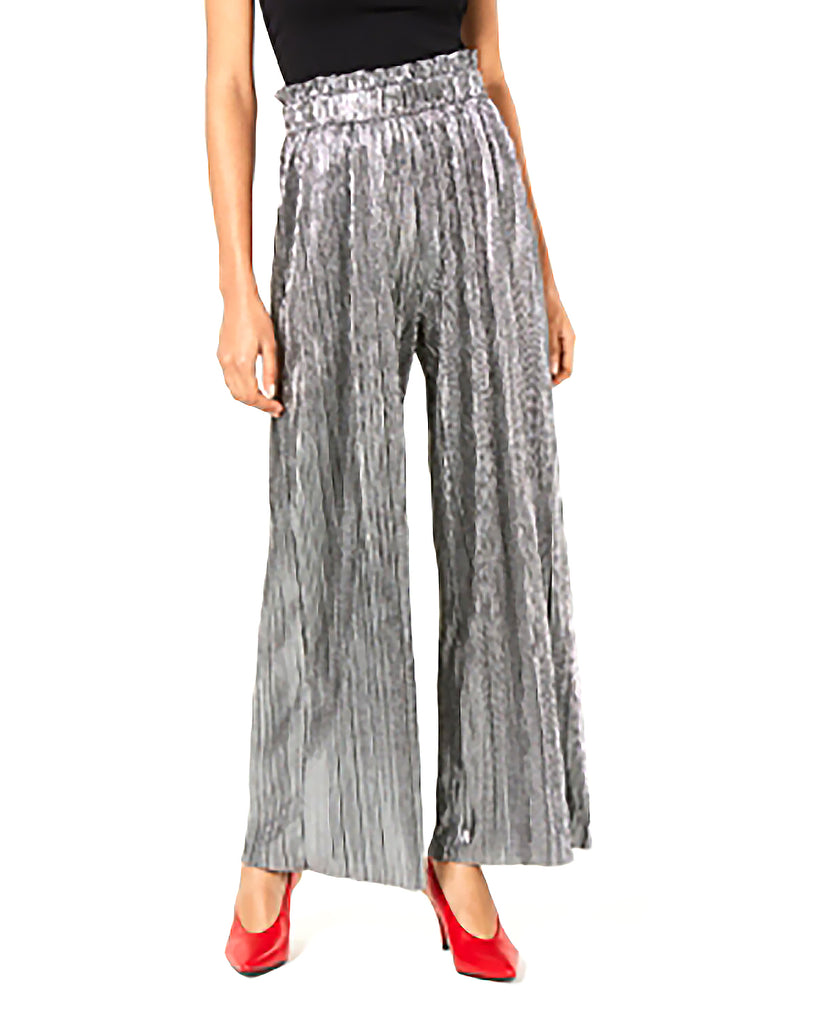 Yieldings Discount Clothing Store's Pleated Metallic Pants by Be Bop in Silver/Black