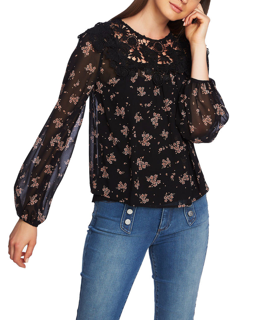 Yieldings Discount Clothing Store's Crochet Trim Floral Print Top by 1.State in Rich Black