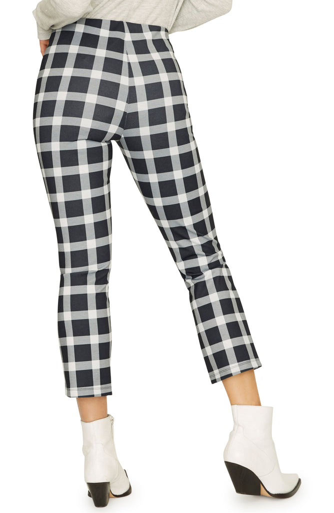 Yieldings Discount Clothing Store's Mod Plaid Cropped Leggings by Sanctuary in Black/White Plaid