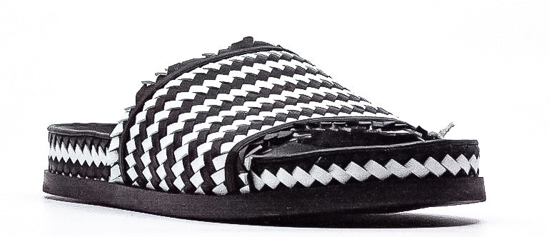 Yieldings Discount Shoes Store's Woven Cationic Sheep Slip-Ons by Sigerson Morrison in Black/White