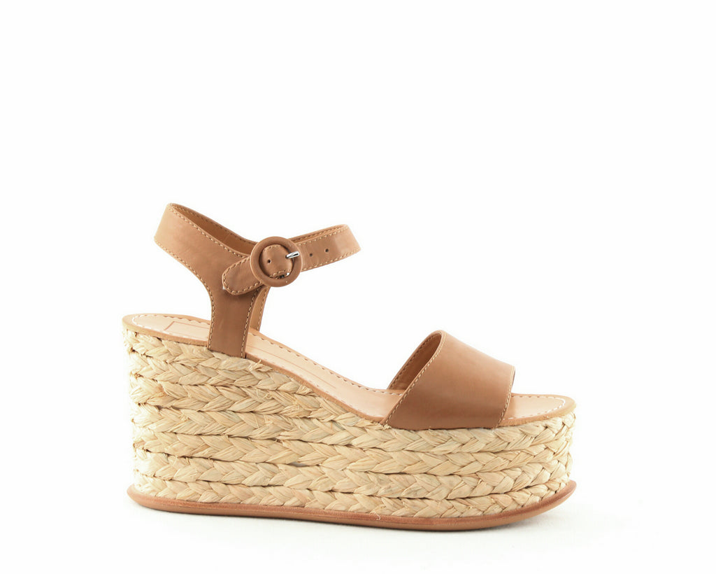 Yieldings Discount Shoes Store's Dane Platform Wedge Sandals by Dolce Vita in Caramel Leather