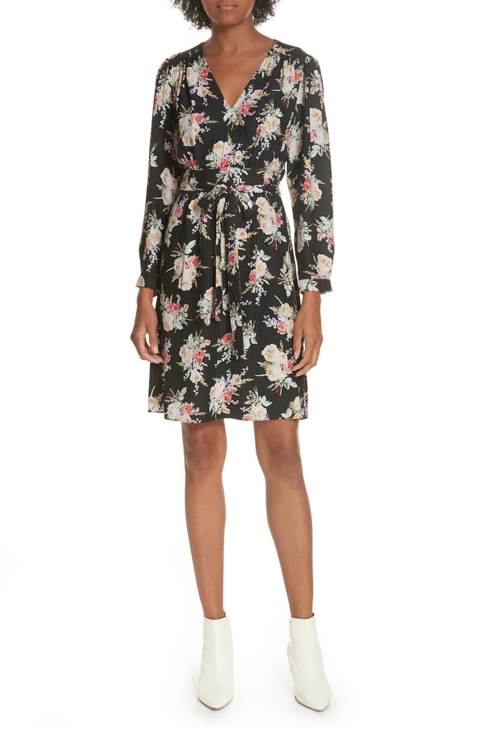 Yieldings Discount Clothing Store's Bouquet Silk A-Line Dress by Rebecca Taylor in Black