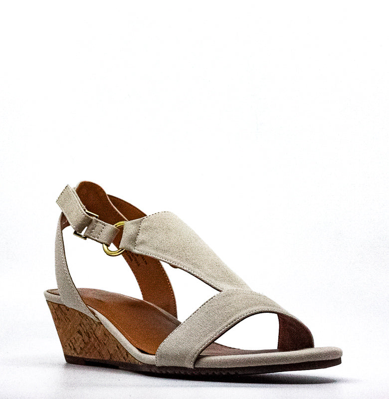 Yieldings Discount Shoes Store's Creme Brulee Fabric Wedge Sandals by Aerosoles in Natural