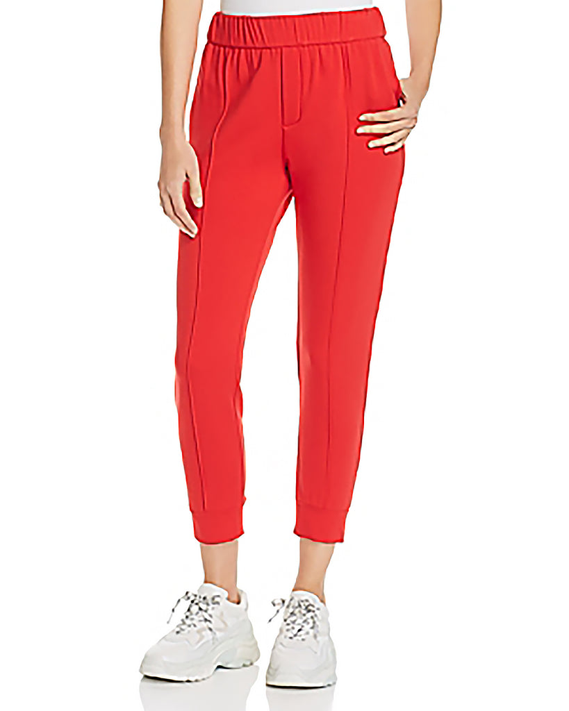 Yieldings Discount Clothing Store's Pintuck Jogger Pants by Enza Costa in Iconic Red