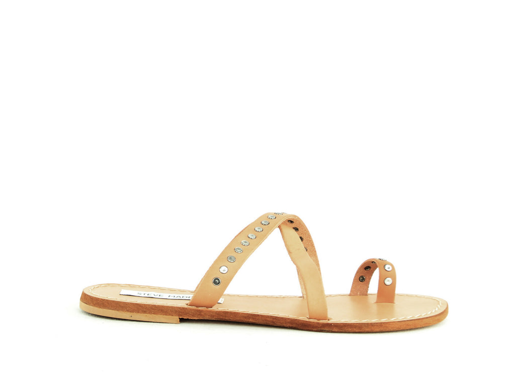 Yieldings Discount Shoes Store's Becky Studded Slide Sandals by Steve Madden in Tan