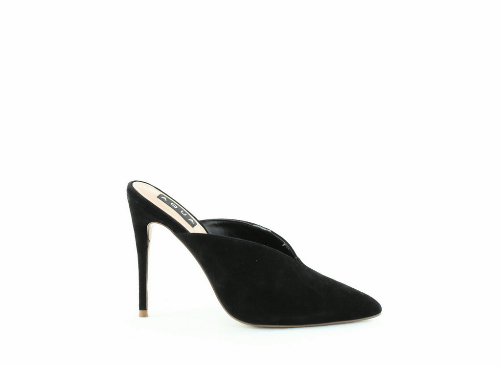 Yieldings Discount Shoes Store's Flare Suede High-Heel Mules by Aqua in Black Suede