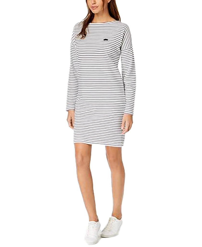 Yieldings Discount Clothing Store's Boat-Neck Striped Dress by Lacoste in White/Navy