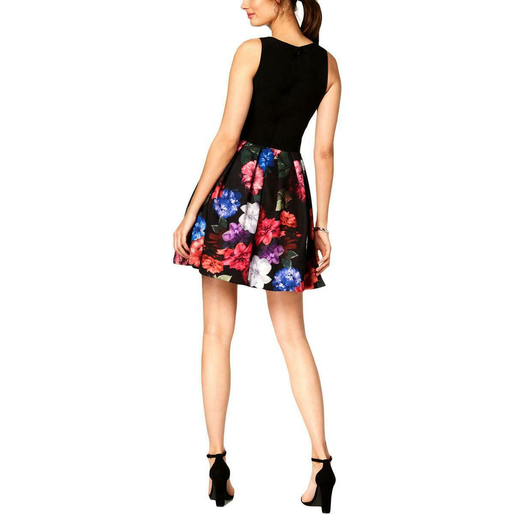 Yieldings Discount Clothing Store's Floral-Print Fit & Flare Dress by Xscape in Black/Purple