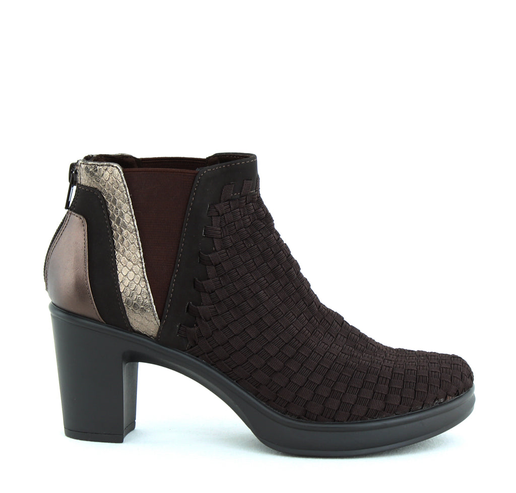 Yieldings Discount Shoes Store's Excit Block Heel Booties by STEVEN By Steve Madden in Brown