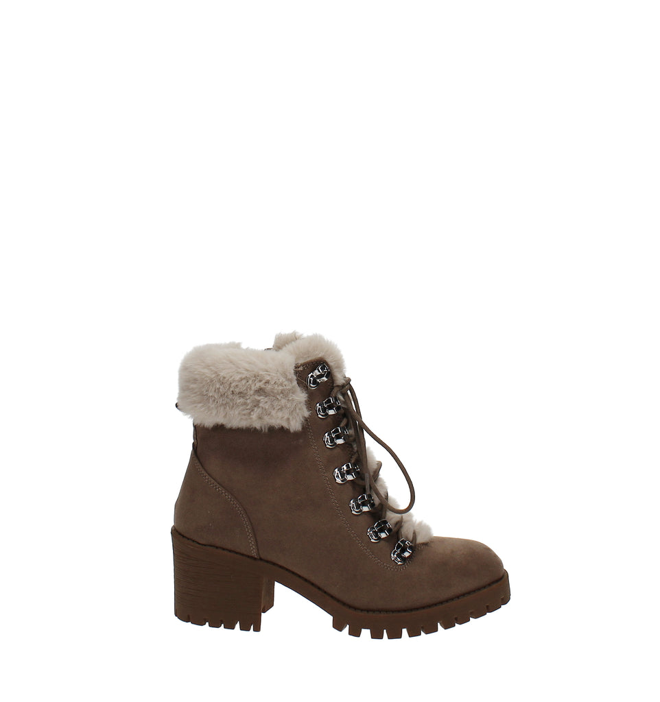 Yieldings Discount Shoes Store's Hidde Faux-Fur Hiker Booties by Madden Girl in Taupe
