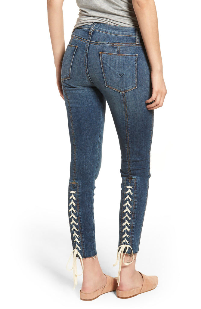 Yieldings Discount Clothing Store's Nico Unfamed Super Skinny Crop Jeans by Hudson in Blue