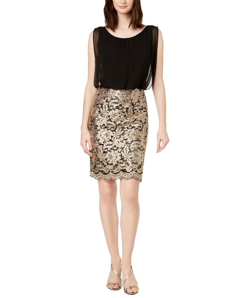 Yieldings Discount Clothing Store's Sequined Chiffon Sheath Dress by Calvin Klein in Black