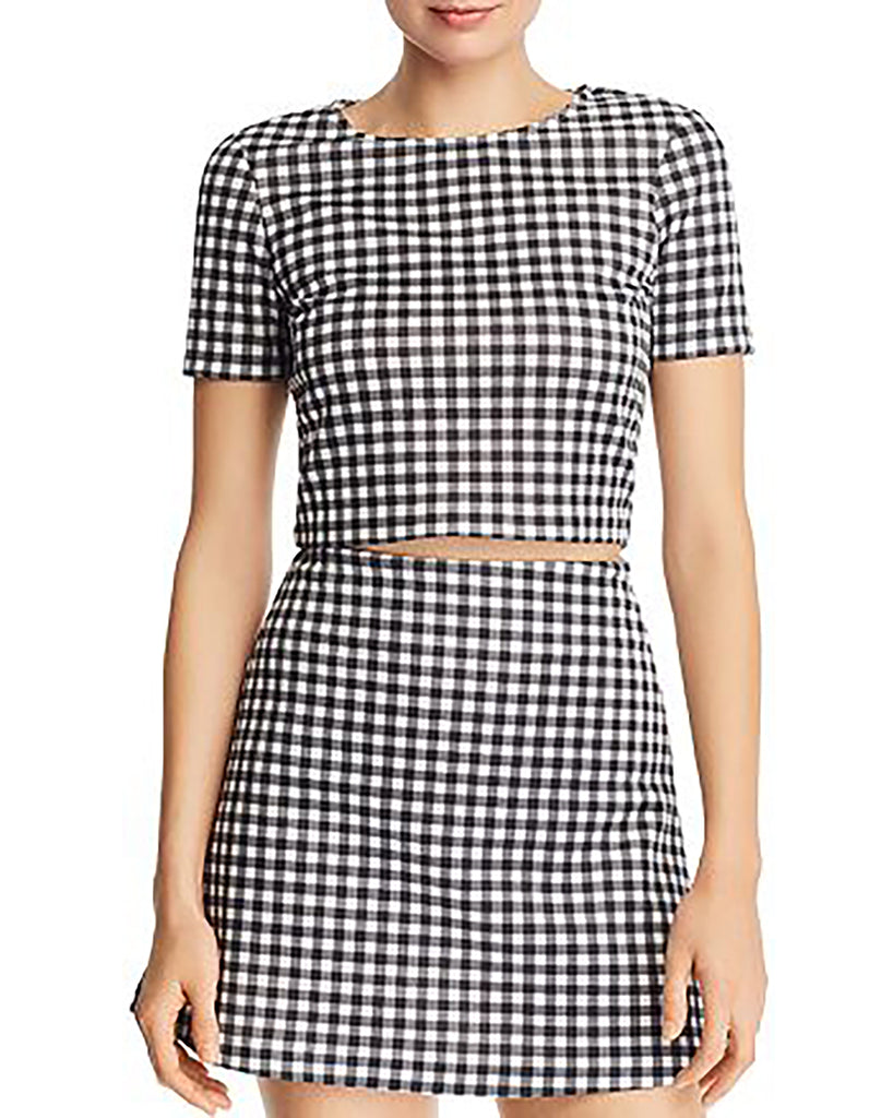 Yieldings Discount Clothing Store's Gingham Cropped Top by Aqua in Black/White