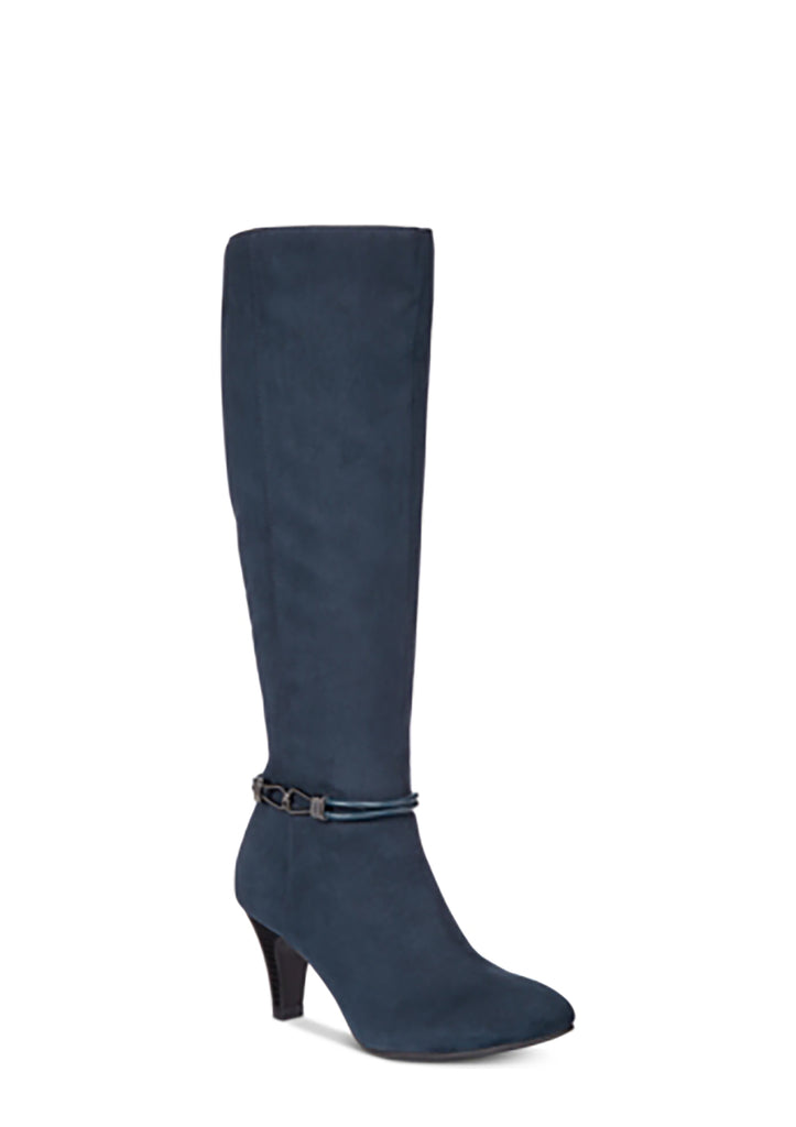 Yieldings Discount Shoes Store's Hollee Dress Boot by Karen Scott in Navy Blue