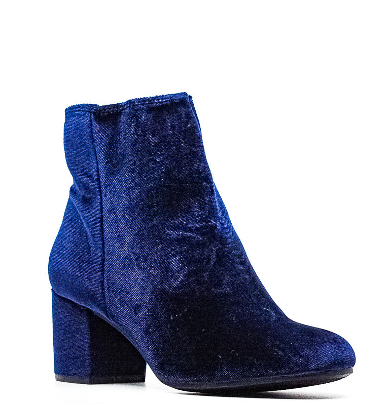 Yieldings Discount Shoes Store's Nanon Velvet Ankle Booties by Rebel By Zigi in Navy