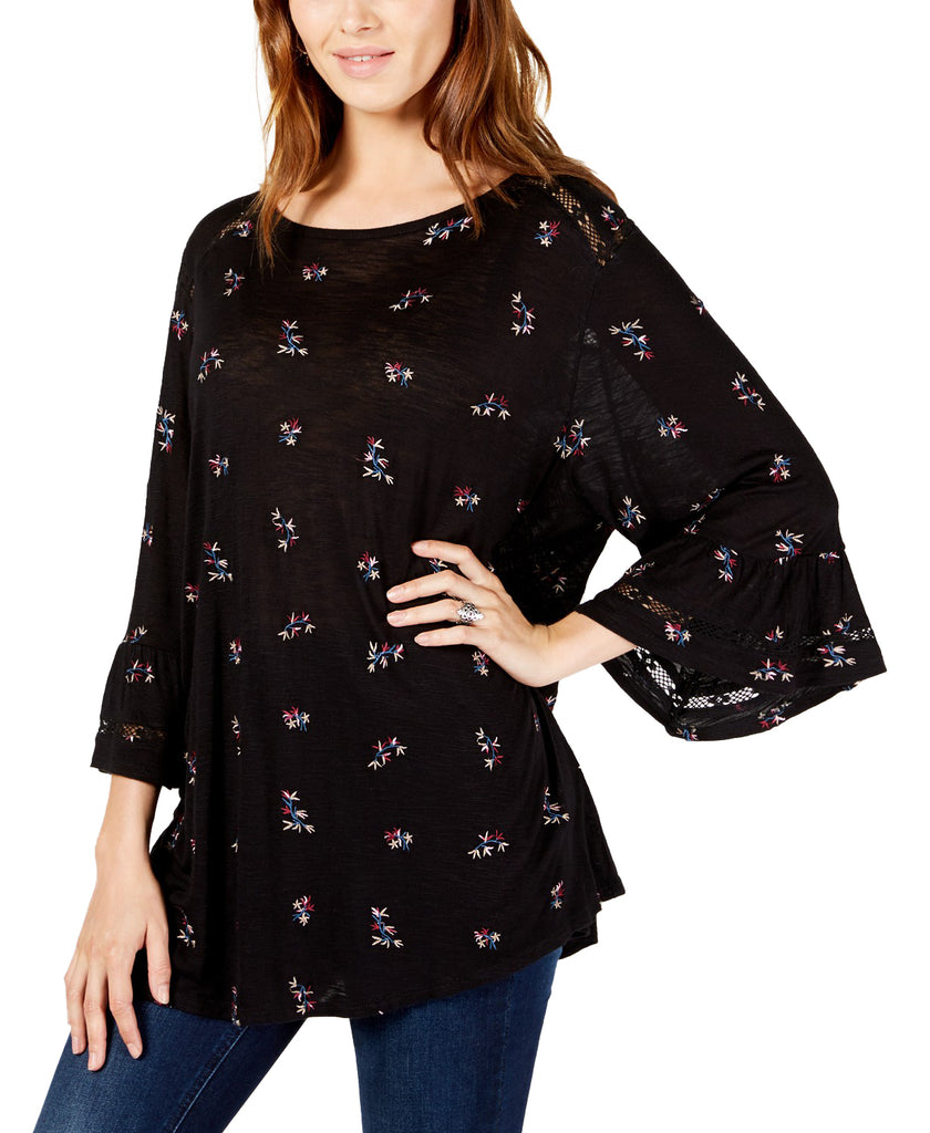 Yieldings Discount Clothing Store's Embroidered Flutter-Sleeve Top by Lucky Brand in Black Multi