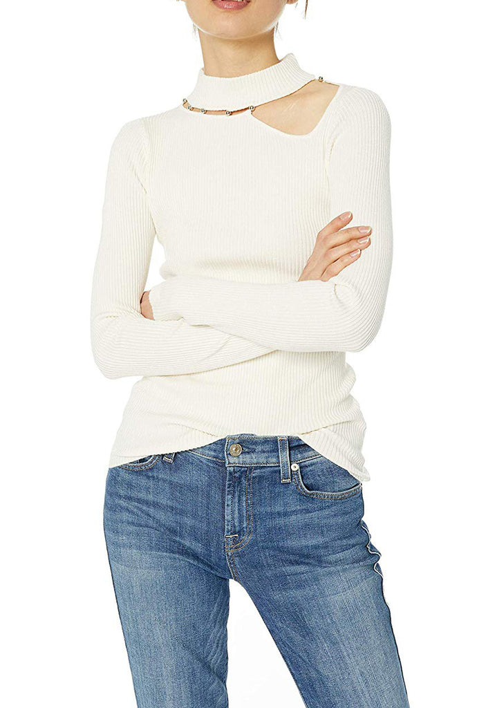 Yieldings Discount Clothing Store's LS Holly Beaded Cut Out Sweater by Guess in Whisper White