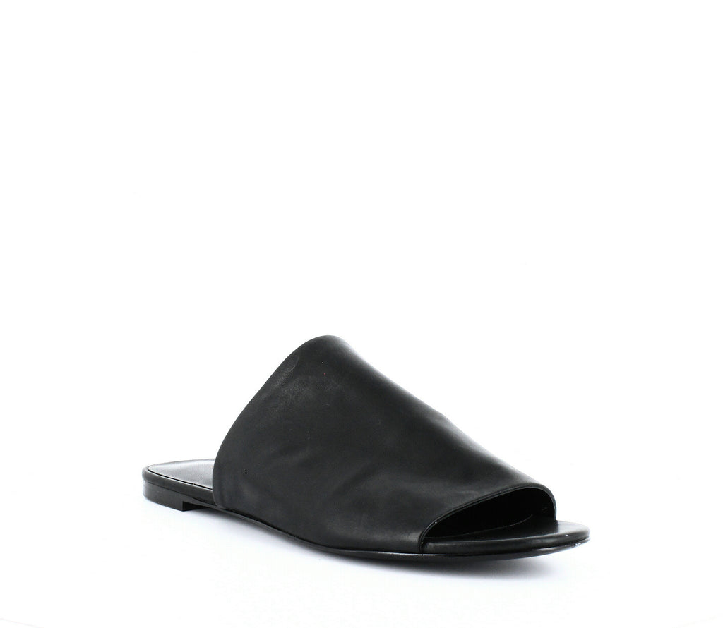 Yieldings Discount Shoes Store's Heather Slide Sandals by Via Spiga in Black Leather