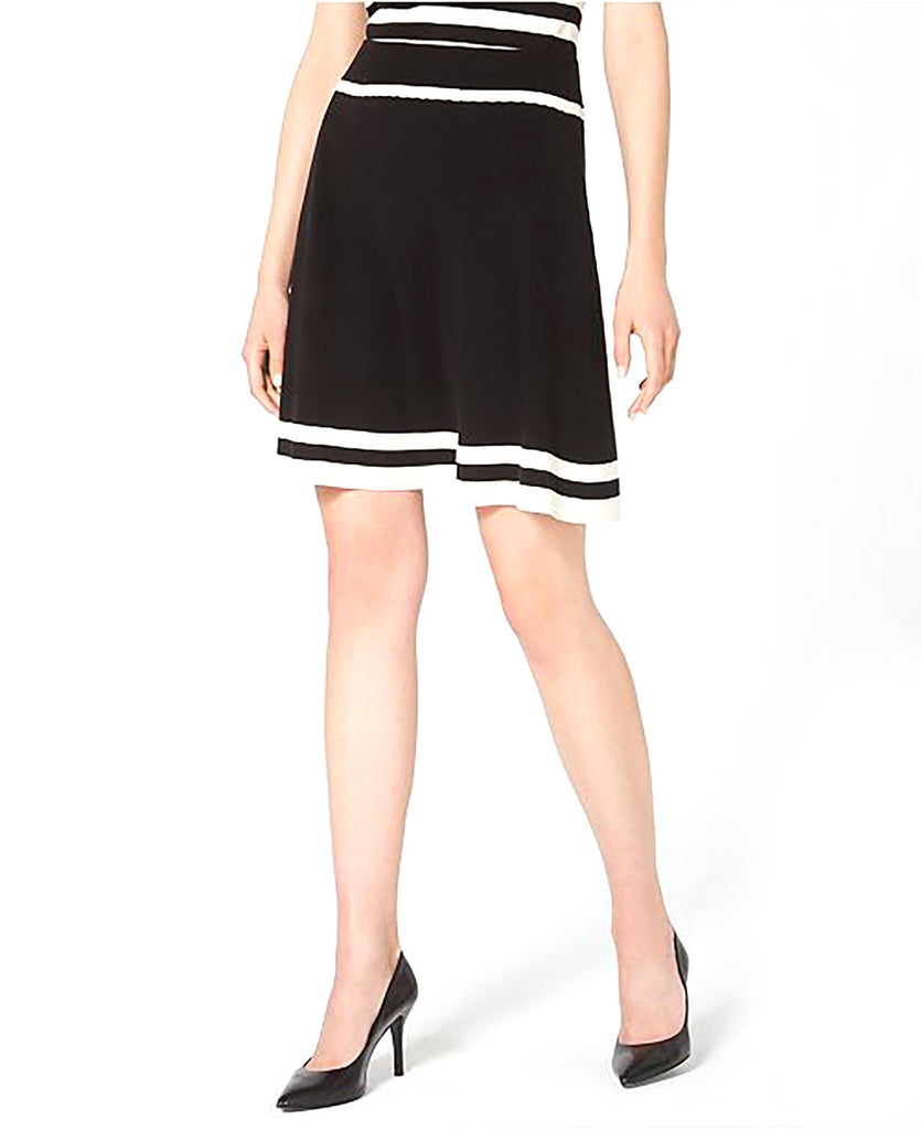 Yieldings Discount Clothing Store's Colorblocked A-Line Skirt by Anne Klein in Black/White