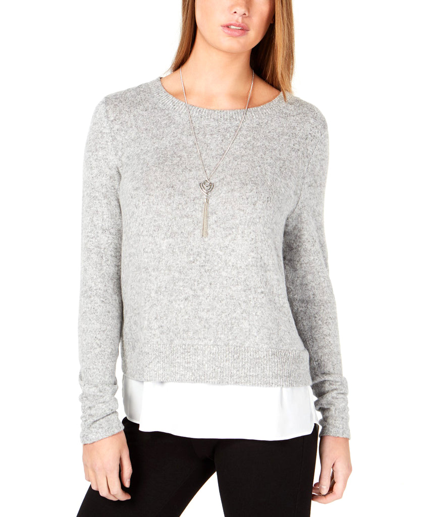 Yieldings Discount Clothing Store's Layered Knit Crewneck Sweater by BCX in Heather Grey