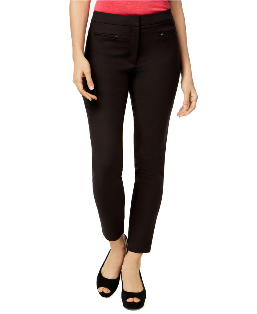 Yieldings Discount Clothing Store's Zip-Pocket Skinny Pants by Maison Jules in Deep Black