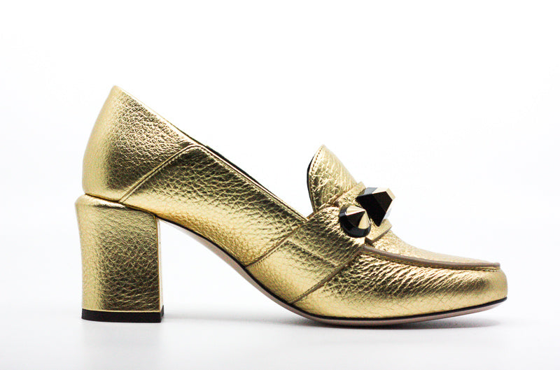 Yieldings Discount Shoes Store's Studded Metallic Mid Heels Loafer Pumps by Fendi in Gold