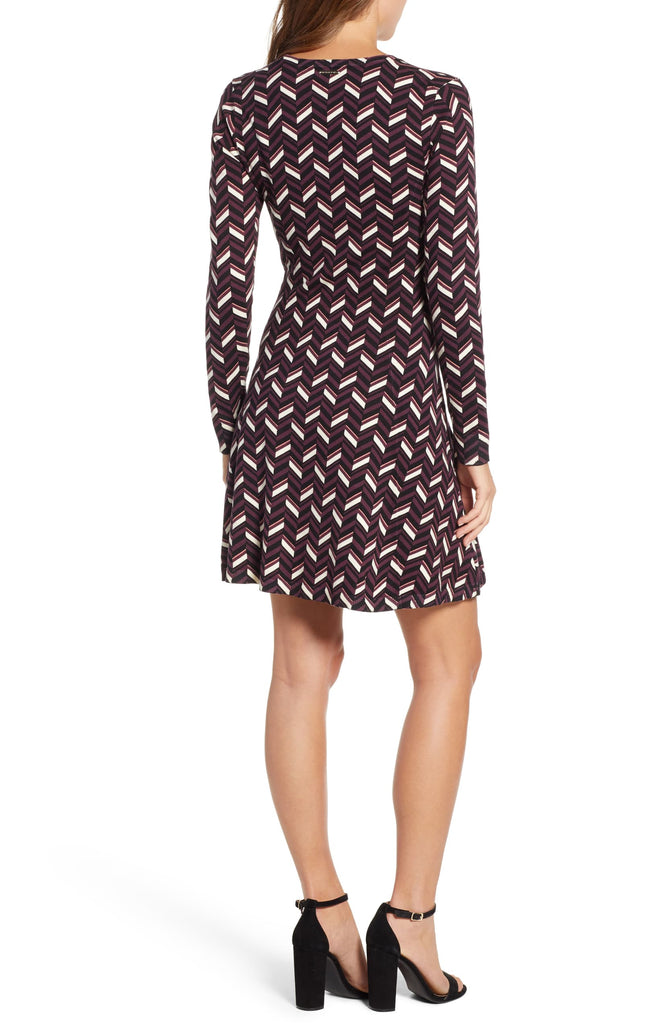 Michael Kors | Chevron Print Long Sleeve Flare Dress
