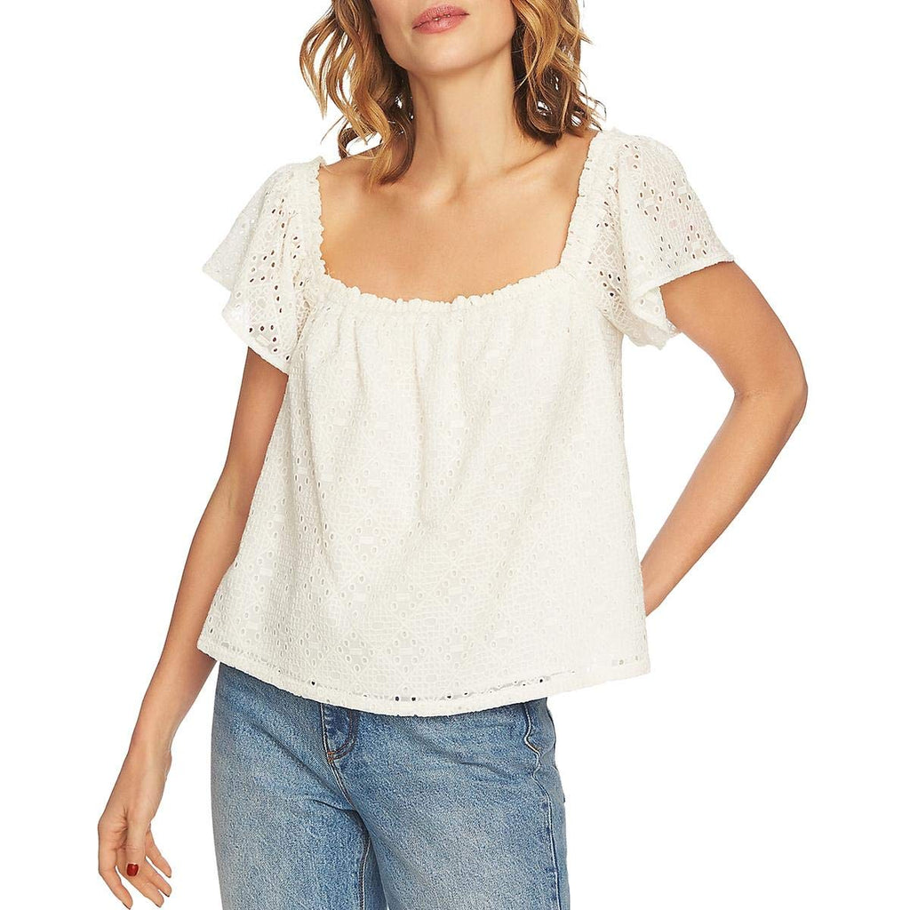 1.State | Jungle Boogie Square-Neck Eyelet Top