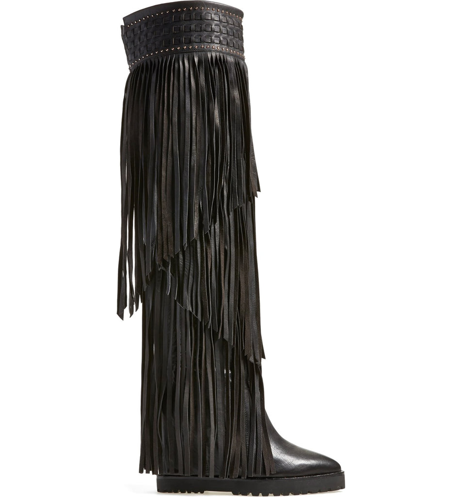 Yieldings Discount Shoes Store's Wild Tall Fringe Boot by Ivy Kirzhner in Black Butter