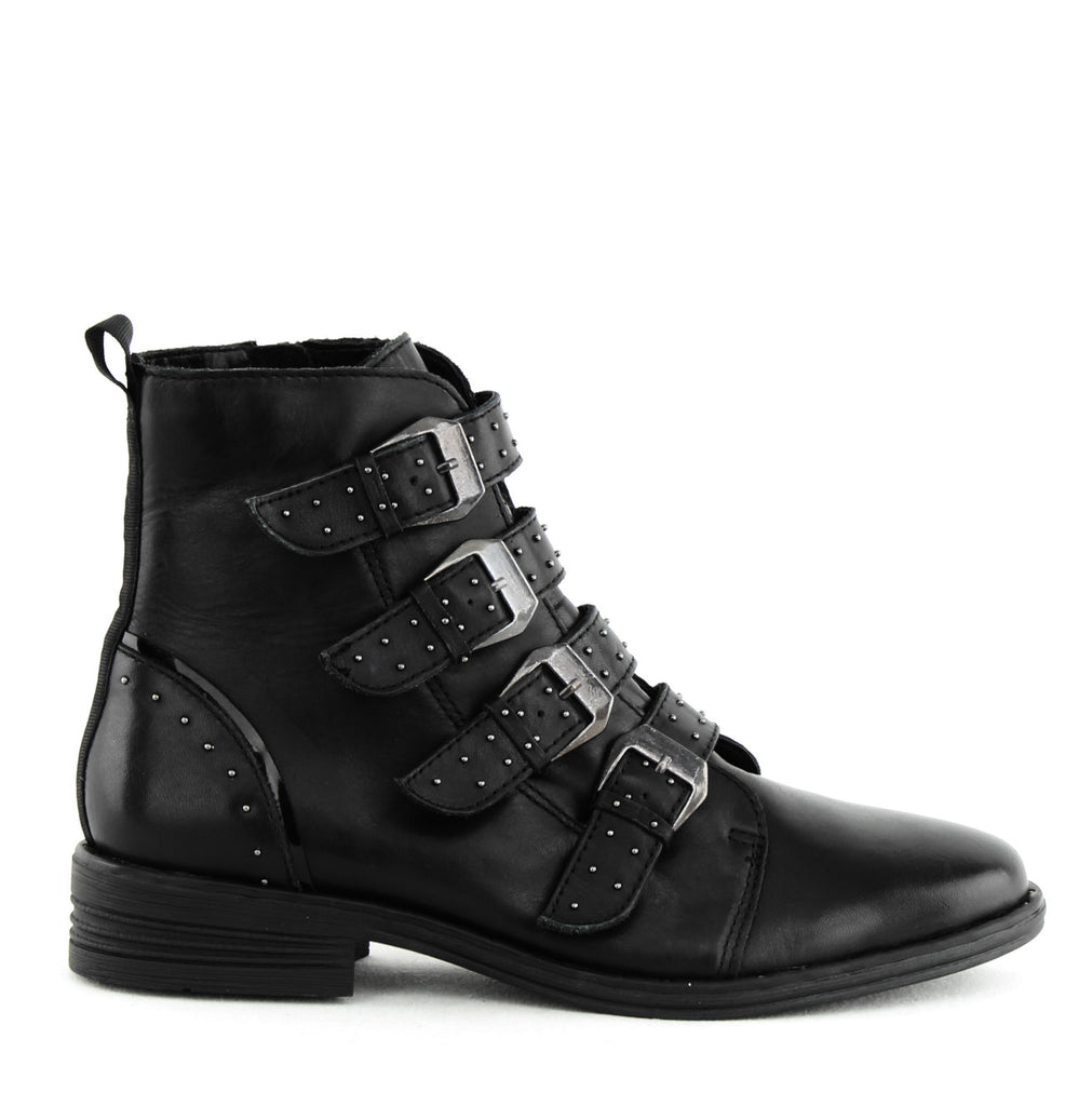 Yieldings Discount Shoes Store's Pursue Buckle Booties by Steve Madden in Black