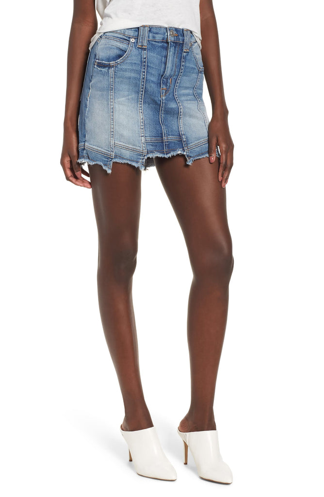 Yieldings Discount Clothing Store's Weekender Step Hem Jean Skirt by Hudson in Frenzy