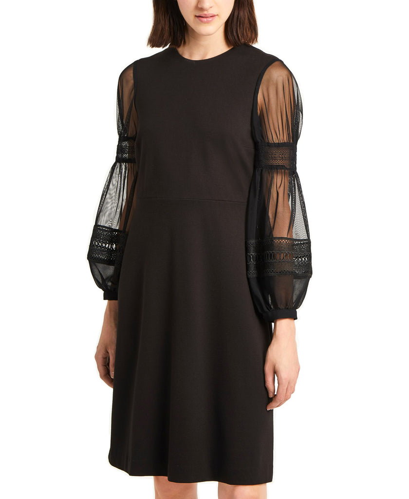 Yieldings Discount Clothing Store's Mesh & Lace Bubble-Sleeve Dress by French Connection in Black