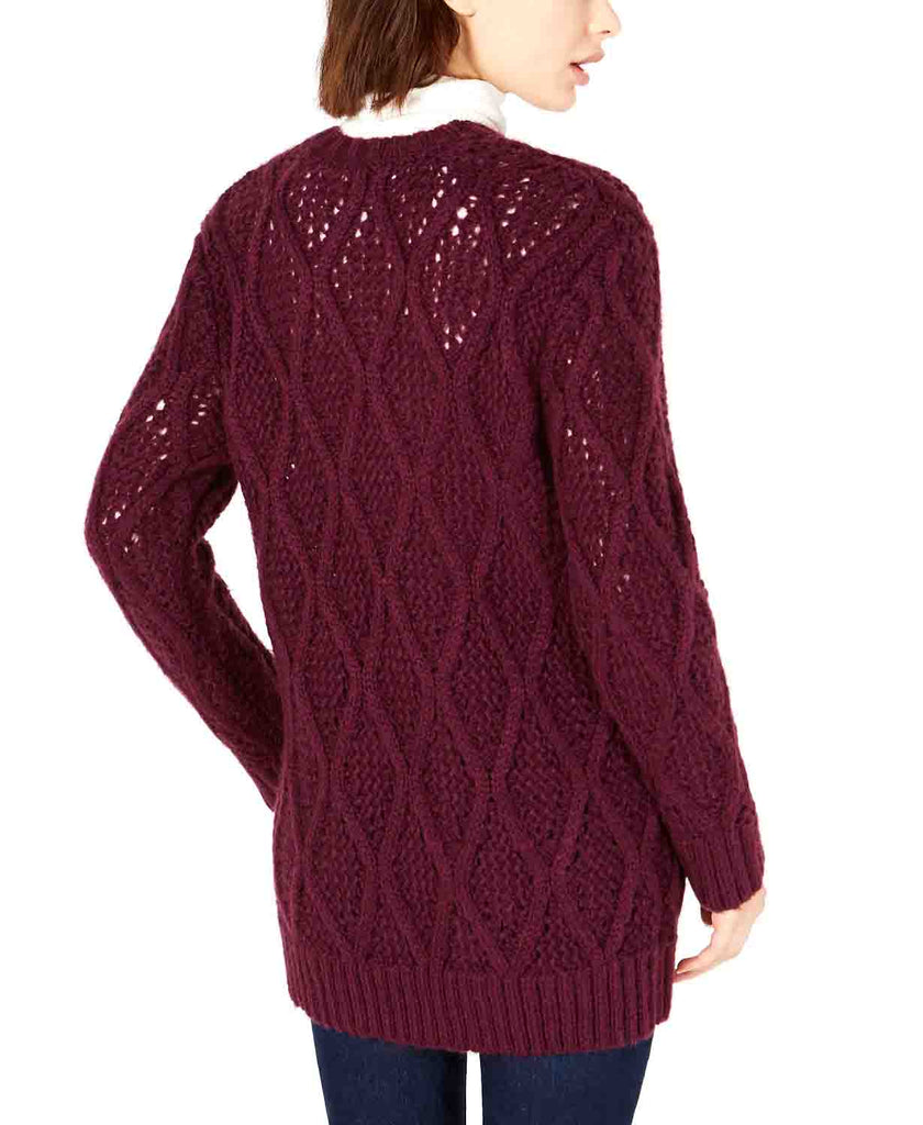 Yieldings Discount Clothing Store's Cable-Knit Cardigan by Leyden in Aubergine