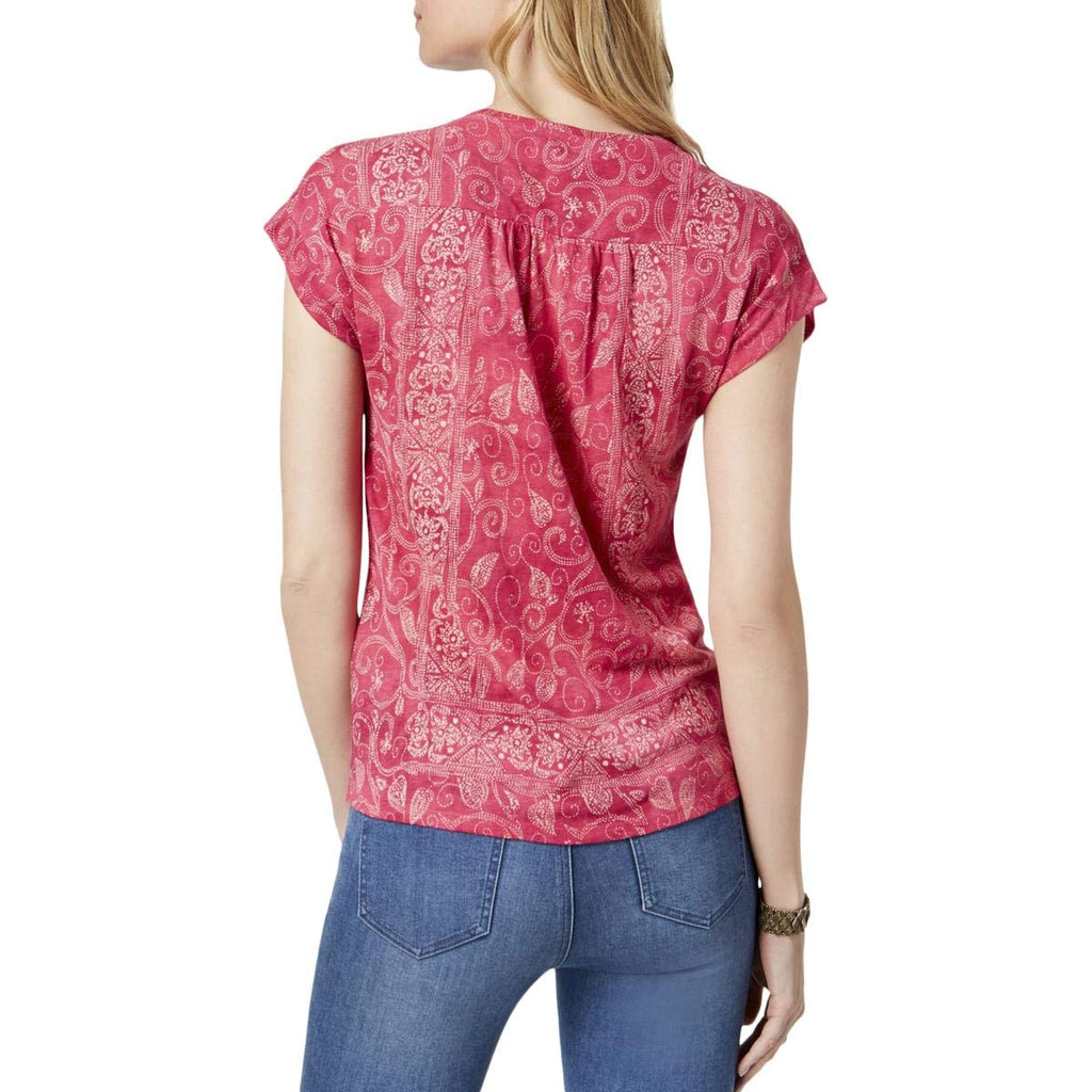 Yieldings Discount Clothing Store's Floral Cap Sleeve Jewel Neck T-Shirt by Lucky Brand in Berry Multi