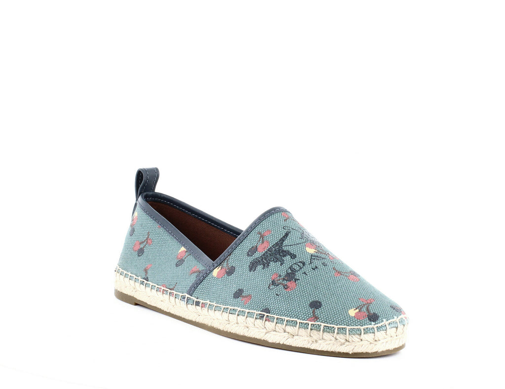 Yieldings Discount Shoes Store's Espadrille Cherry Print Flats by Coach in Cherry/Marine