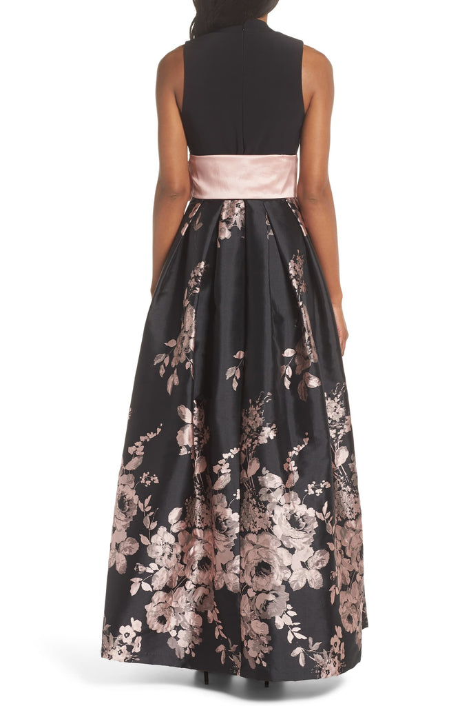 Yieldings Discount Clothing Store's Floral Belted Ball Gown by Eliza J in Black/Blush