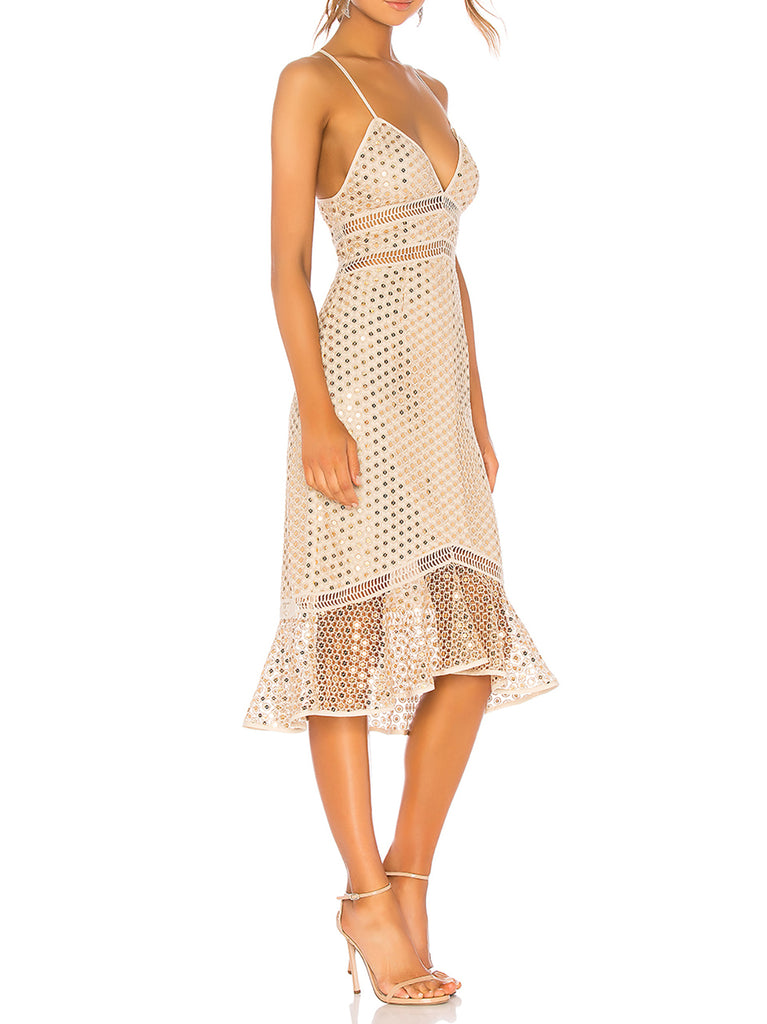 Yieldings Discount Clothing Store's Champ Sequined Dress by Saylor in Champagne