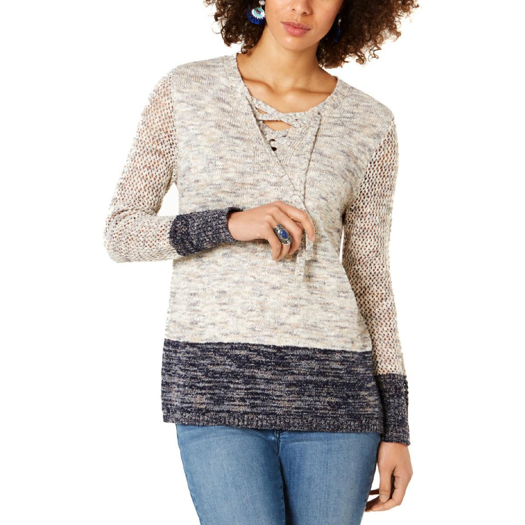 Yieldings Discount Clothing Store's Pointelle-Sleeve Lace-Up Sweater by Style & Co in Timeless Navy Combo