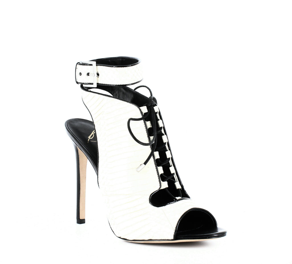 Yieldings Discount Shoes Store's Lodosa Lace-Up Sandals by Brian Atwood in White/Black
