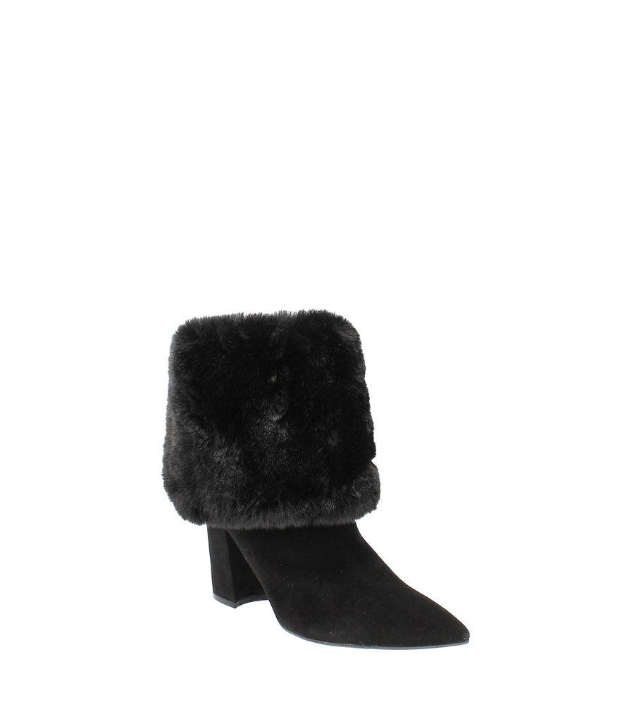 Yieldings Discount Shoes Store's Chrissa Cuffed Fur Booties by Nine West in Black