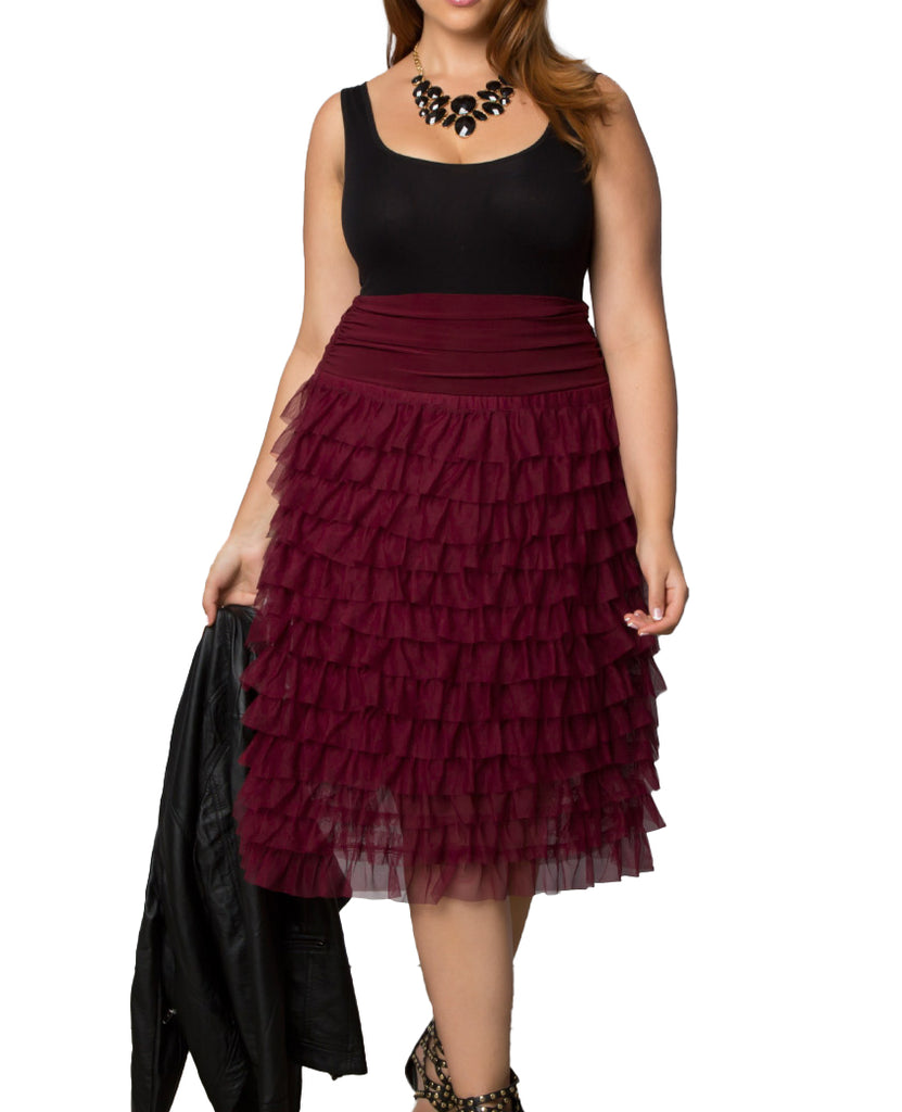 Yieldings Discount Clothing Store's Tiered Delight Tulle Skirt by Kiyonna in Burgundy