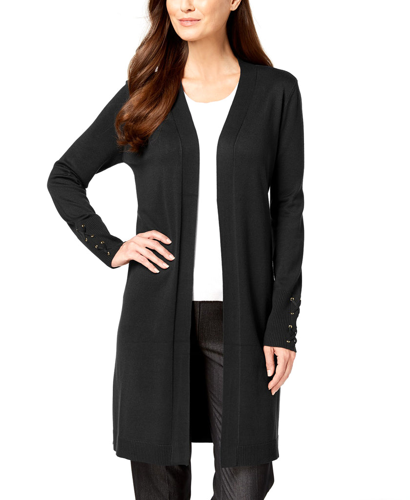 Yieldings Discount Clothing Store's Lace-Up-Sleeve Cardigan by JM Collection in Deep Black